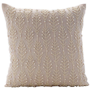 Pearls Leaf & Flowers Beige Cotton Linen 45x45 Cushion Covers, Pearl Essence