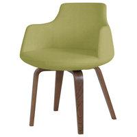 Dervish Plywood Chair, American Walnut Base, Green Leatherette