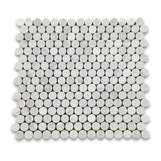 "12""x12"" Carrara White Penny Round Mosaic Tile Polished, Chip Size: 3/4"""