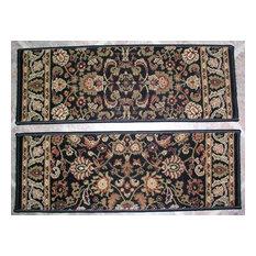 "Persian Classics Premium Stair Treads, Black/Border Color Sage, 2'7""x9"""