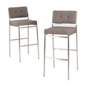 GDF Studio Kyoto Light Gray Fabric Bar Stools, Set of 2