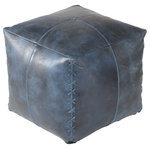 Madeleine Home - Harper Genuine Leather Pouf, Indigo - Giving way to a leather-bound elegance, the Harper pouf brings style to your living place. Featuring a cross-stitched detail on the corners, the pouf is handmade from genuine scrunched leather. The grainy texture extends to the entire pouf and adds a well-seasoned characteristic to it. Two embroidered lines cross each other, further accentuating the pouf. Harper highlights the artisans eye for detail. The leather is stained into a subtle grey hue, that is carefully chosen to bring out the best in the leather.