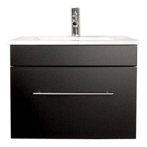 Emotion Pluto Bathroom Furniture, White High-Gloss, 60 cm, Black Semi-Gloss