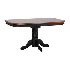 Sunset Trading Extendable Dining Table | Antique Black Cherry Finish Top