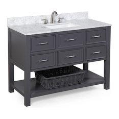 "New Hampshire 48"" Bath Vanity, Base: Charcoal Gray, Top: Carrara Marble"