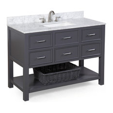"New Hampshire 48"" Bath Vanity, Base: Charcoal Gray, Top: Carrara Marble"