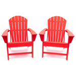 LuXeo - Hampton Poly Outdoor Patio Adirondack Chairs, Set of 2, Red - Bring that beachside feel to your own backyard with this stylish and ultra-comfortable Adirondack Chair. Designed in the USA and showcases a traditional design with a rounded back. Made of recycled plastic poly material, our version is more enduring than classic wood, in a variety of vibrant and classic colors that requires no maintenance. With its roomy seat and gently reclined curved back, you'll want to lounge and relax for hours. This lovely outdoor chair is a perfect compliment and a must have to your outdoor space.
