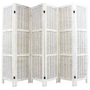 Traditional Folding Room Divider, Cream Wicker, Perfect for Your Private Space