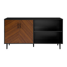 "58"" Midcentury Modern Bookmatched Doors Asymmetrical TV Stand, Black"