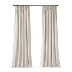 "Signature Pleated Blackout Velvet Curtain Single Panel, Alabaster Beige, 25""x120"