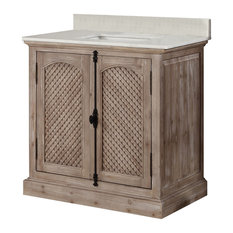 "Infurniture 36"" Solid Wood Sink Vanity With Arctic Pearl Quartz Top, No Faucet"