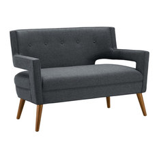 Modway Sheer Upholstered Loveseat In Gray