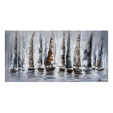 """Gray Sail Boats"" Hand Painted Canvas Art, 55""x27.5"""