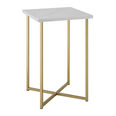 16-inch Modern Square Side Table Top: White Marble Legs: Gold