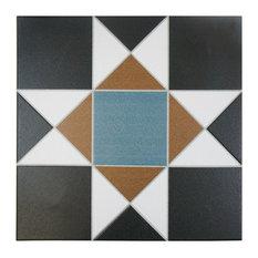 "13""x13"" Narcissus Ceramic Floor/Wall Tiles, Set of 10, Nouveau"