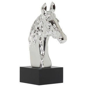 Shiny Silver Horse Head Ornament Sculpture on Pedestal