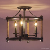 Luxury Rustic Bronze and Rope Ceiling Light, UQL2310, Minneapolis Collection