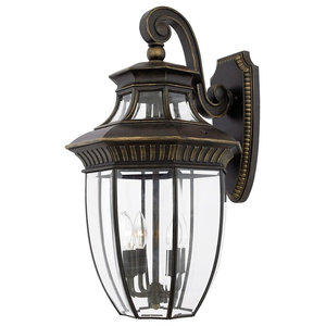 Large Bevelled Glass Wall Lantern, Imperial Bronze