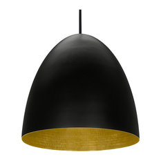 Black Egg Contemporary Pendant, Polished Brass