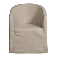 Slipcover Barrel Back Chair With Casters