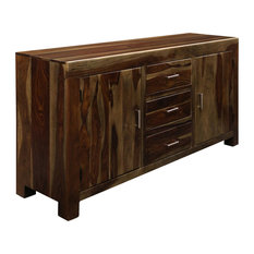 2-Door 3-Drawer Credenza Made Of Solid Sheesham Wood In A Light Stain Finish