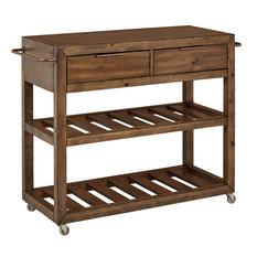 Serving Cart Brown Hardwood With Acacia Veneer 2 Storage Drawers