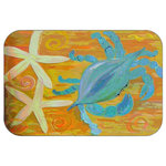"Mary Gifts By The Beach - Crabby StarFish Deco Plush Bath Mat, 20""x15"" - Bath mats from my original art and designs. Super soft plush fabric with a non skid backing. Eco friendly water base dyes that will not fade or alter the texture of the fabric. Washable 100 % polyester and mold resistant. Great for the bath room or anywhere in the home. At 1/2 inch thick our mats are softer and more plush than the typical comfort mats.Your toes will love you."