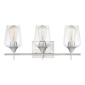 Octave 2-Light Vanity Fixture, Satin Nickel, 3-Light