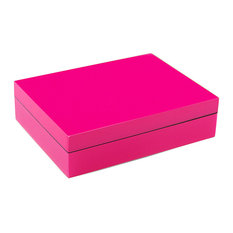 Lacquer Long Stationery Box Box, Hot Pink