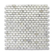 "12""x12"" Calacatta Gold Mini Brick Mosaic Tile Honed, Chip Size: 5/8""x3/4"""