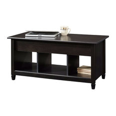 FastFurnishings   Black Wood Finish Lift Top Coffee Table With Bottom  Storage Space   Coffee