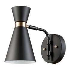 mid century modern wall sconce. Globe Electric - Belmont 1-Light Black And Gold Wall Sconce Sconces Mid Century Modern B