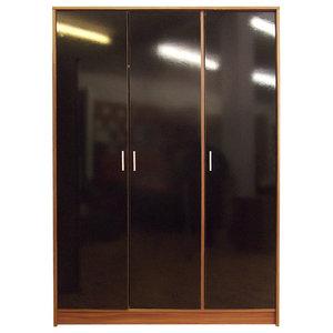 Khabat 3-Door Wardrobe, Black and Walnut, Without Mirror