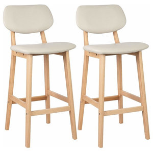 Set of 2 Bar Stool Upholstered, Faux Leather With Backrest and Footrest, Cream
