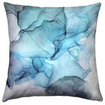 "Pillow Decor Ltd. - Karalina Design Watercolor Throw Pillow 20""x20"", Khyber Haze Blue - A soft, smoky pattern in blue and turquoise tones makes the Khyber Haze Blue Throw Pillow a visual delight. Tie in your blue accents with this stunning contemporary pillow. From the Karalina Design throw pillow collection."