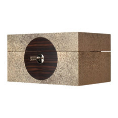 On Target Box, Brown Faux Shagreen, Small