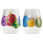 """Enesco - """"Ornaments"""" Stemless Wine Glass by Lolita, 2 Piece Set - Lolita glasses combine hand painted accents with sassy messages that help you celebrate any occasion in style. Arrives in a beautiful gift box with a unique cocktail recipe painted under the base of the glass. Made from artisan blown glass."""