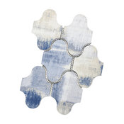 """Nature Cement Blue 9""""x12"""" Glass Swag Mosaic Tile, Set of 10"""