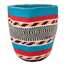 Kenyan Handwoven Basket, Blue, Red and Salmon Stripe