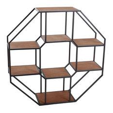 Industrial Octagonal Iron and Wood Display Shelf
