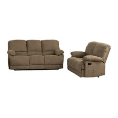 CorLiving Lea 2-Piece Chenille Fabric Reclining Sofa Set, Brown