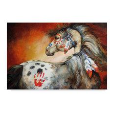 "Marcia Baldwin '4 Feathers Indian War Pony' Canvas Art, 32""x22"""