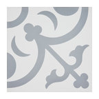 "8""x8"" Nador Handmade Cement Tile, White and Gray, Set of 12"