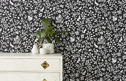 Magnolia Home Fox and Hare Black and White Textured Wallpaper, Single Roll