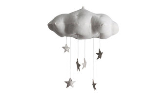 White and Silver Star Cloud Mobile
