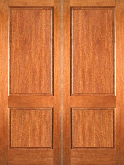 P 620 Interior Wood Mahogany 2 Panel Double Door   Interior Doors