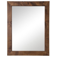 "Farmhouse Bathroom Vanity Mirror, 24""x31"", Walnut"