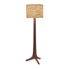 Nauta Floor Lamp, Brushed Aluminum, Walnut, Burlap, No Shelf