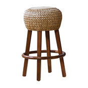 Hospitality Rattan Seagrass Indoor Stationary Rattan & Wicker 30 in. Bar Stool -