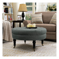 "Round Tufted Linen Ottoman With Caster, 33"", Gray"